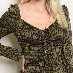 Trendy boutique Dresses - Olive leopard ruched mini dress, NEW!